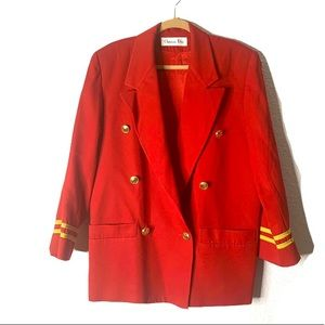 Vintage Christian Dior Blazer Military Red Size 10